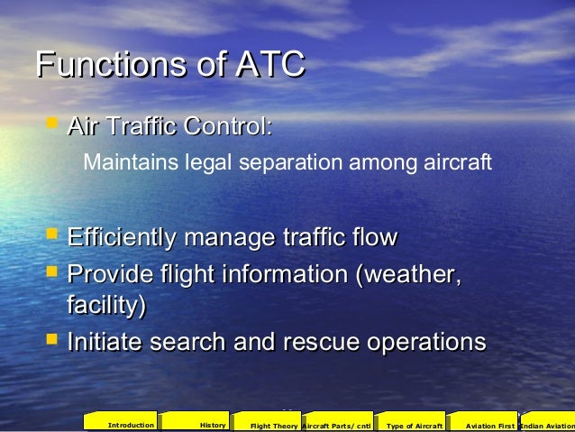 Functions of ATCFunctions of ATC 9393  Air Traffic Control:Air Traffic Control:  Efficiently manage traffic flowEfficien...