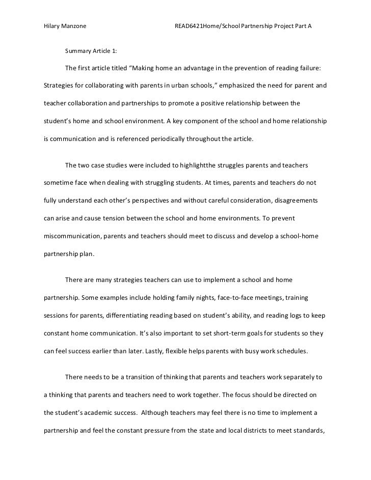 Hilary Manzone                                READ6421Home/School Partnership Project Part A       Summary Article 1:     ...