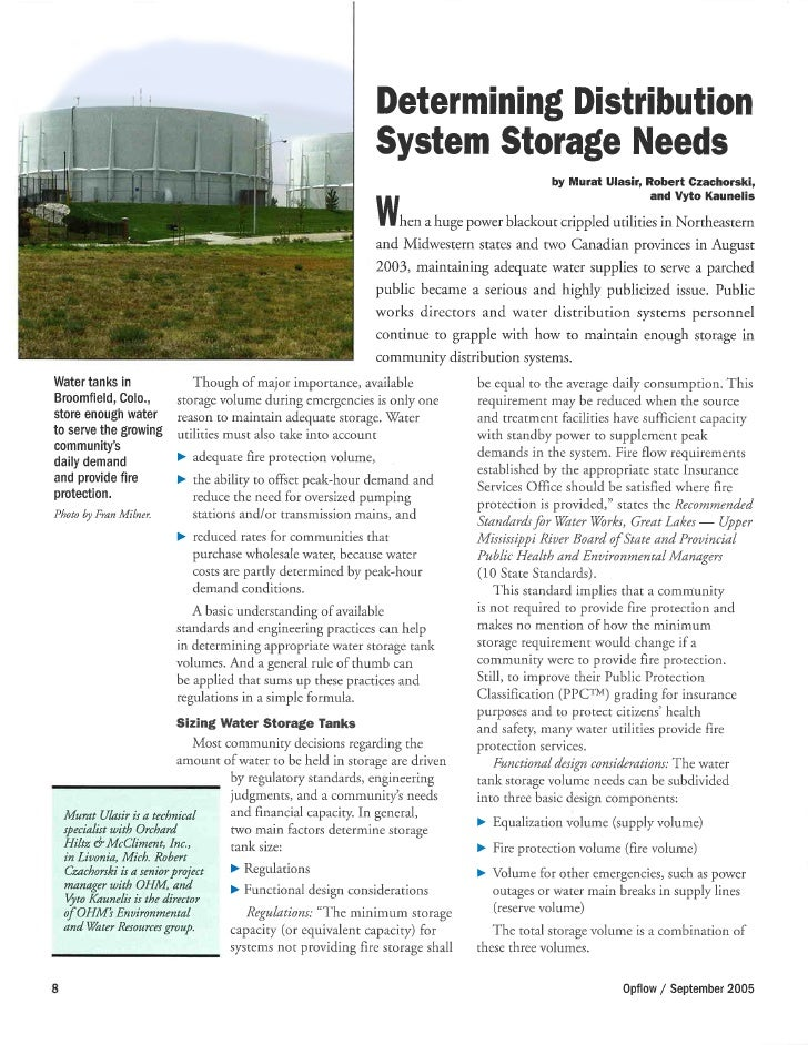 Water Supply: Determining Distribution System Storage Needs
