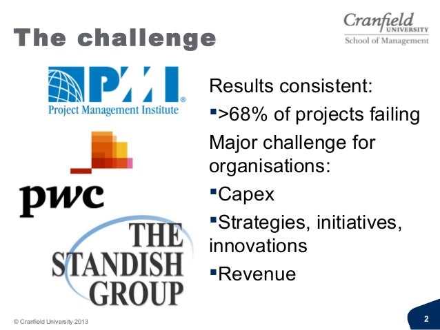 The challengeResults consistent:>68% of projects failingMajor challenge fororganisations:CapexStrategies, initiatives,i...