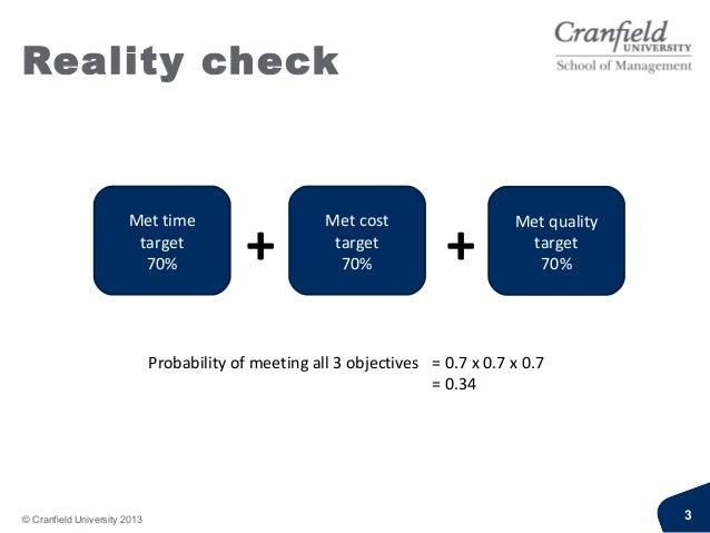 Reality check© Cranfield University 2013 3Met timetarget70%Met costtarget70%Met qualitytarget70%+ +Probability of meeting ...