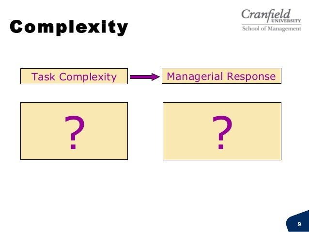 Complexities Structural complexity: Number, size, financial scale, interdependencies, variety, pace,technology, breadth ...