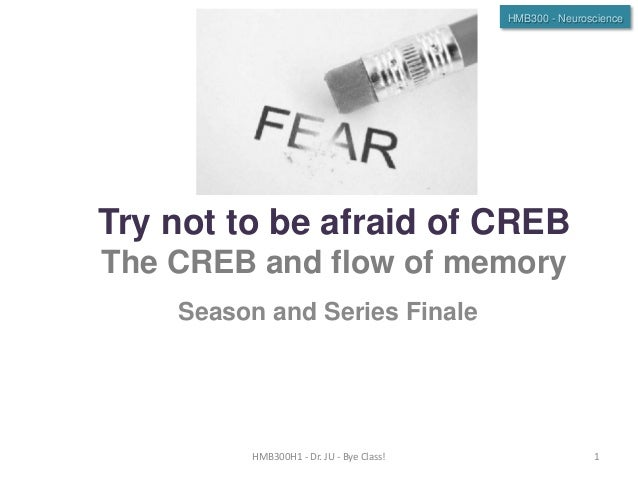 HMB300 - Neuroscience  Try not to be afraid of CREB The CREB and flow of memory Season and Series Finale  HMB300H1 - Dr. J...