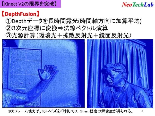 8 【Kinect V2の限界を突破】 【DepthFusion】 ①Depthデータを長時間露光(時間軸方向に加算平均) ②3次元座標に変換⇒法線ベクトル演算 ③光源計算(環境光+拡散反射光+鏡面反射光) 100フレーム使えば、ToFノイズを...