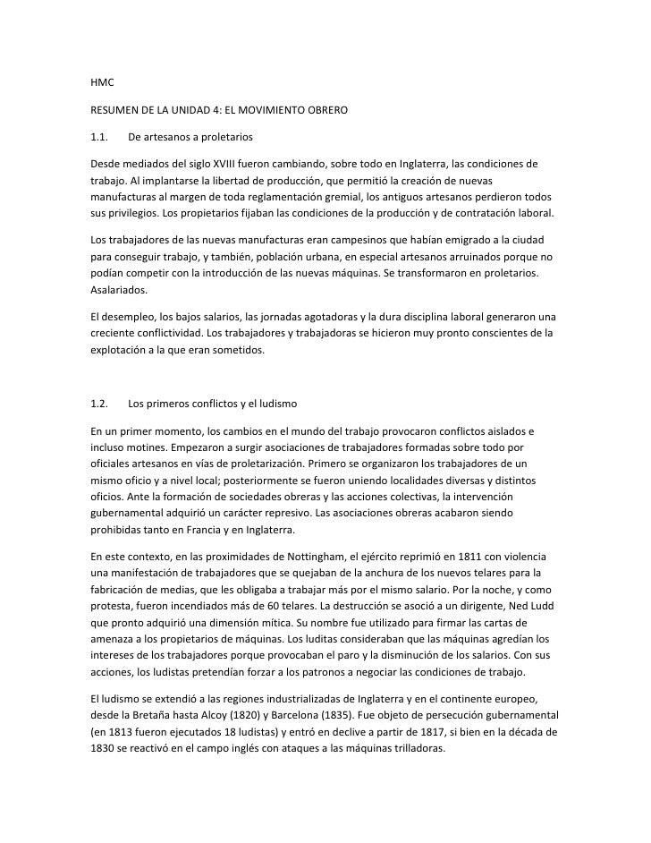HMCRESUMEN DE LA UNIDAD 4: EL MOVIMIENTO OBRERO1.1.    De artesanos a proletariosDesde mediados del siglo XVIII fueron cam...