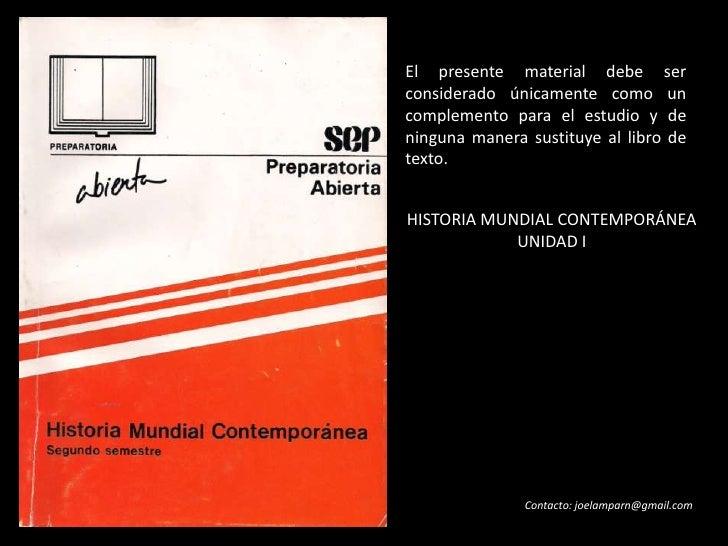 UNIDAD I - HISTORIA MUNDIAL CONTEMPORÁNEA
