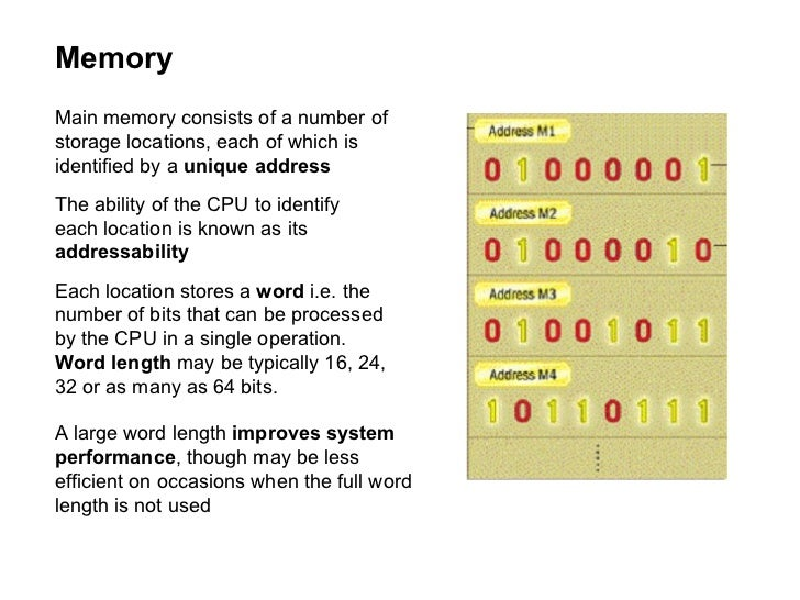 Memory Main memory consists of a number of storage locations, each of which is identified by a  unique address The ability...