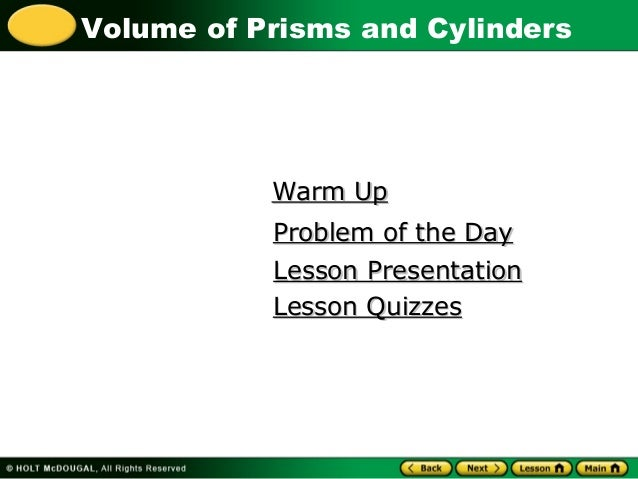 lesson 8-5 problem solving volume of prisms and cylinders