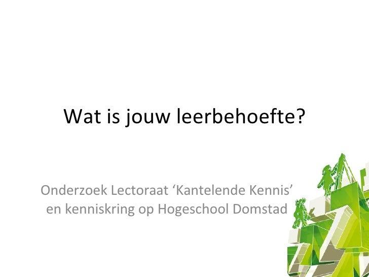 Wat is jouw leerbehoefte? Onderzoek Lectoraat 'Kantelende Kennis' en kenniskring op Hogeschool Domstad