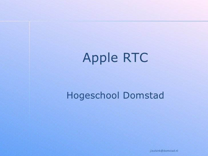 Apple RTC Hogeschool Domstad [email_address]