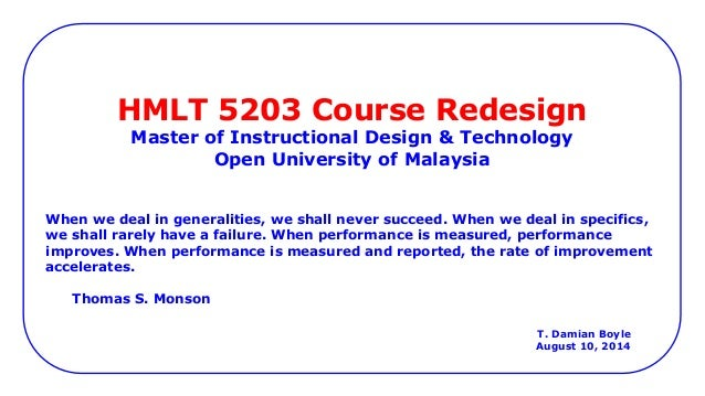 Instructional Design Online Course Outline And Justifications Midt
