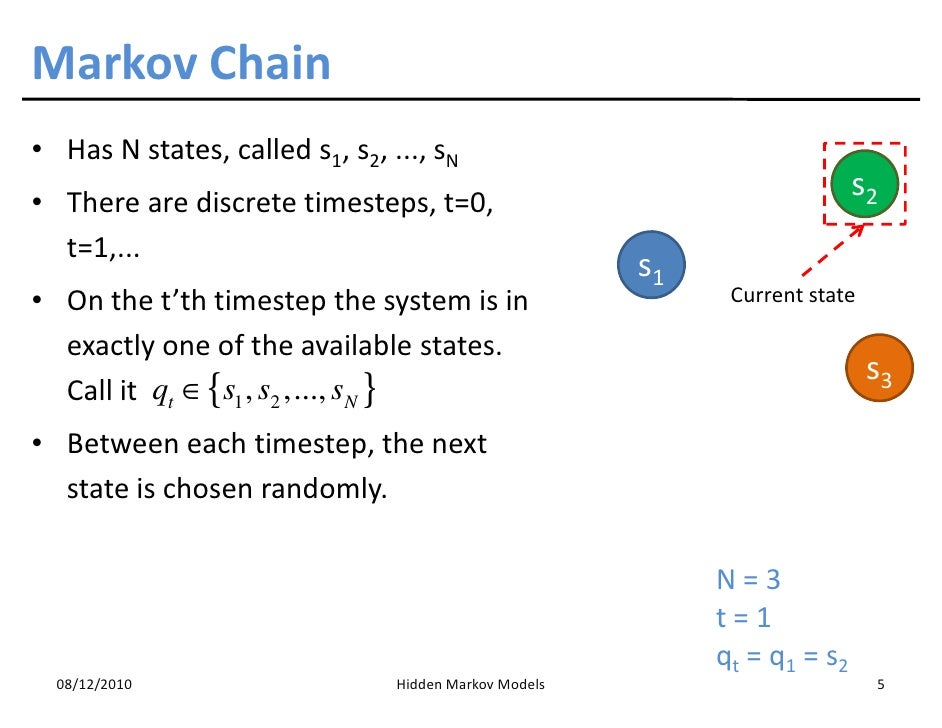 markov chain Markov chains are probabilistic processes which depend only on the previous state and not on the complete history one common example is a very simple weather model: either it is a rainy day (r) or a sunny day (s.