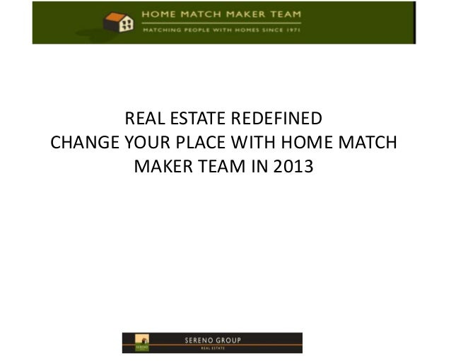 REAL ESTATE REDEFINEDCHANGE YOUR PLACE WITH HOME MATCH        MAKER TEAM IN 2013