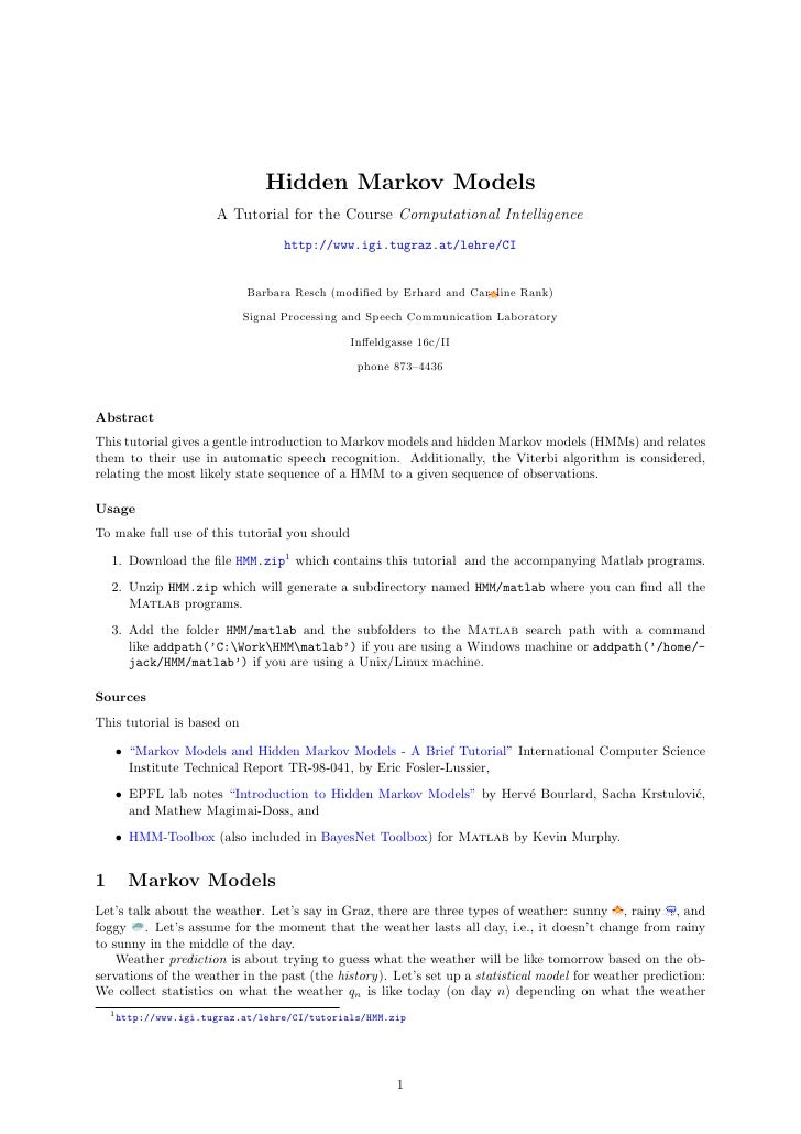 Hidden Markov Models                        A Tutorial for the Course Computational Intelligence                          ...