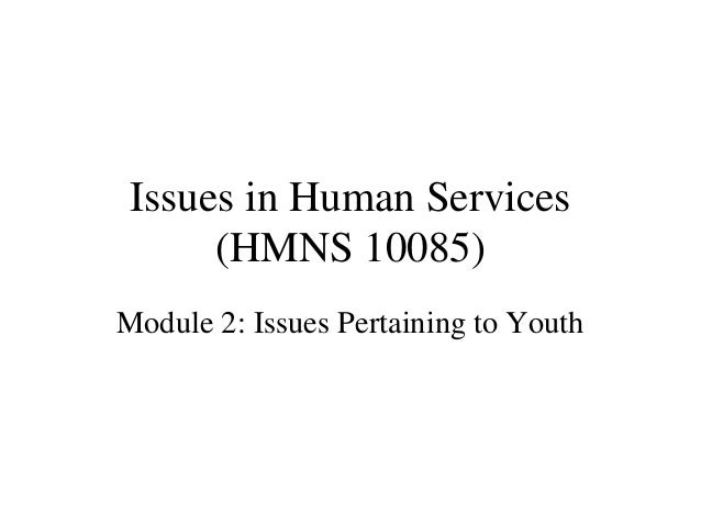 Issues in Human Services (HMNS 10085) Module 2: Issues Pertaining to Youth