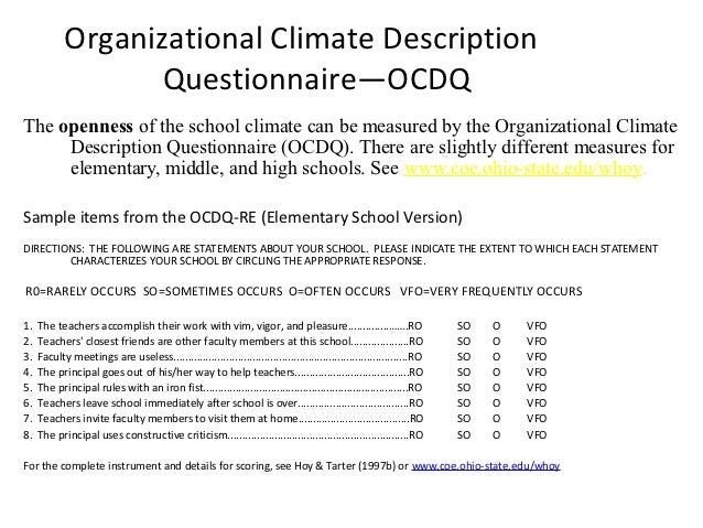 organizational climate questionnaire What is a climate survey often an essential component of organizational training and development, (workplace / organization) climate surveys provide a picture of.