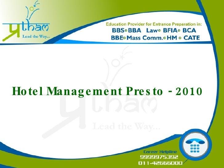 Hotel Management Presto - 2010