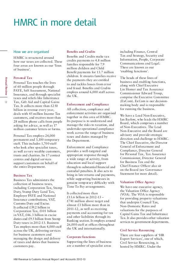 Uk Hmrc 2013 Revenue And Accounts
