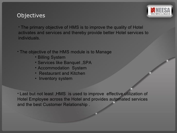 objective of hotel management