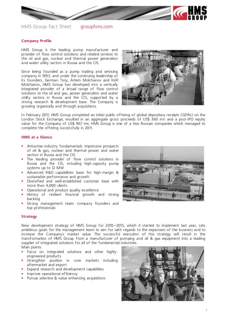 HMS Group Fact Sheet               grouphms.comCompany ProfileHMS Group is the leading pump manufacturer andprovider of fl...