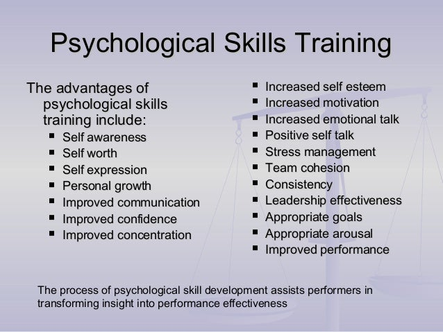 psychological skills training programme Design a psychological skills training program for a collegiate athlete of your choice select an athlete and the sport, explain the issues, and then create a comprehensive psychological skills training program.