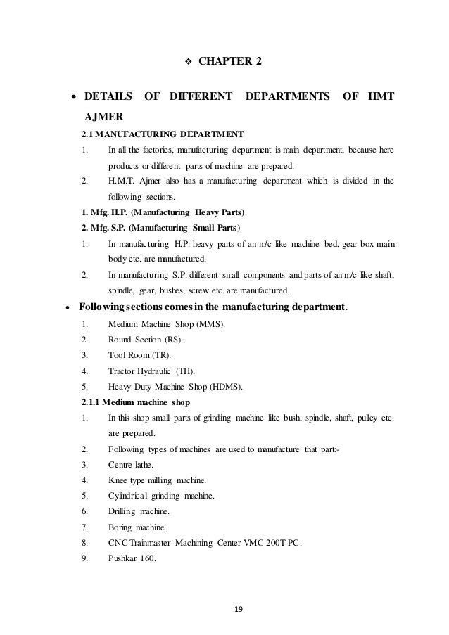 hmt ajmer traning report Hmt machine tools ltd ajmer practical summer training report dec 03, 2015 hmt machine tools ltd ajmer practical summer training report 1 1 abstract the.