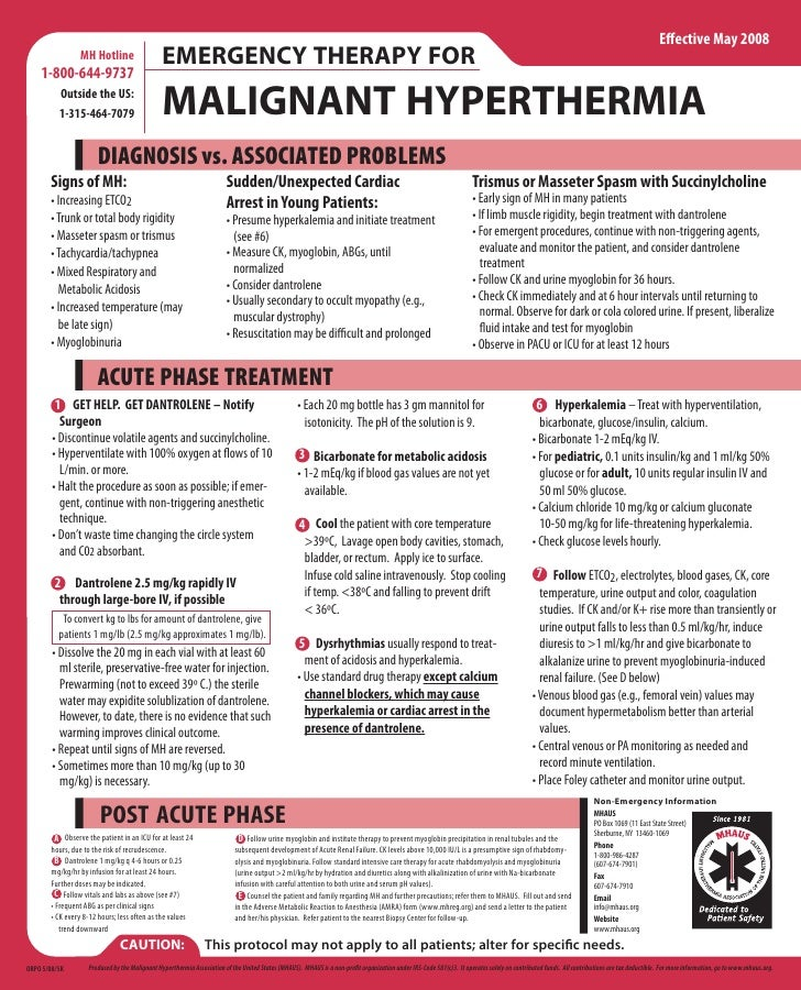 clinical pathway malignant hyperthermia Physiology, diagnosis, and differential diagnosis of malignant hyperthermia (mh)   ical condition has higher clinical penetrance in males who are  diagnostic  pathway for investigation of mh susceptibility9 mh, malignant.