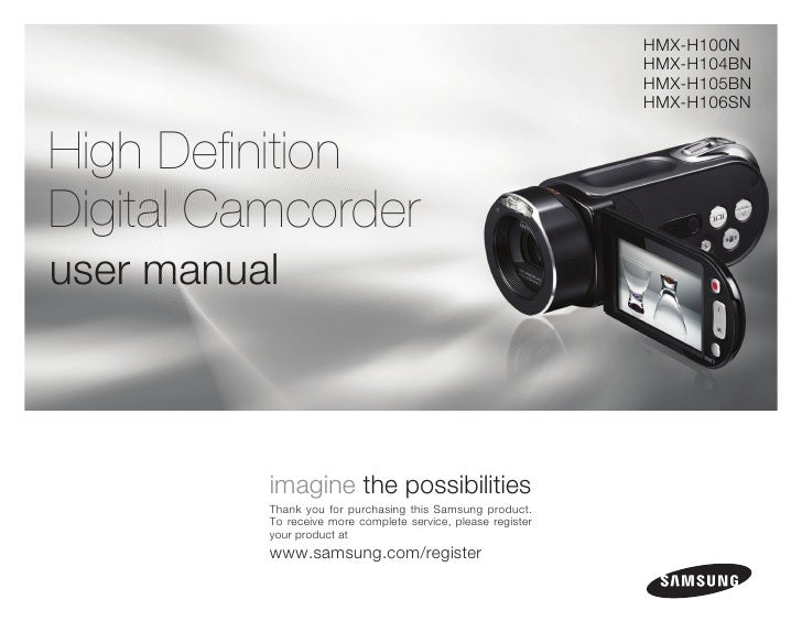 samsung camcorder hmx h100n user manual rh slideshare net User Guide Icon canon camcorder user guide