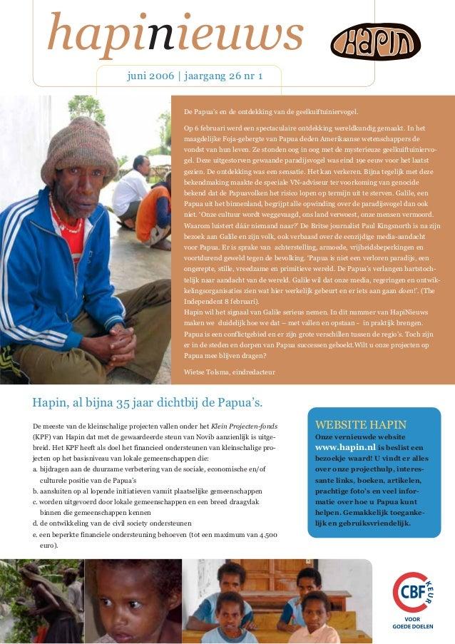 hapinieuws juni 2006   jaargang 26 nr 1 WEBSITE HAPIN Onze vernieuwde website www.hapin.nl is beslist een bezoekje waard! ...