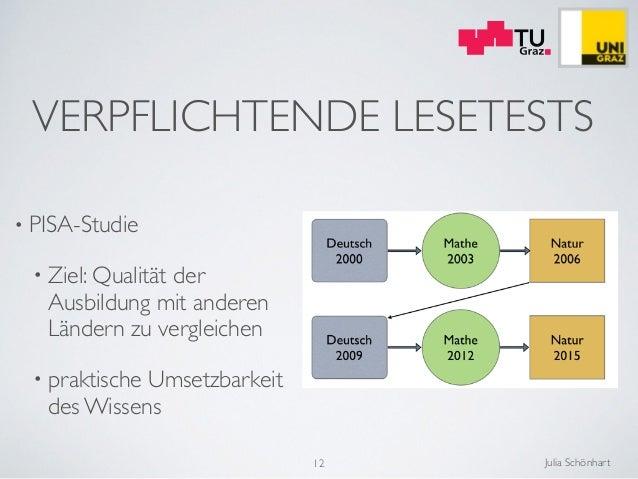 Julia Schönhart VERPFLICHTENDE LESETESTS  • PISA-Studie  • Ziel: Qualität der Ausbildung mit anderen Ländern zu vergleic...