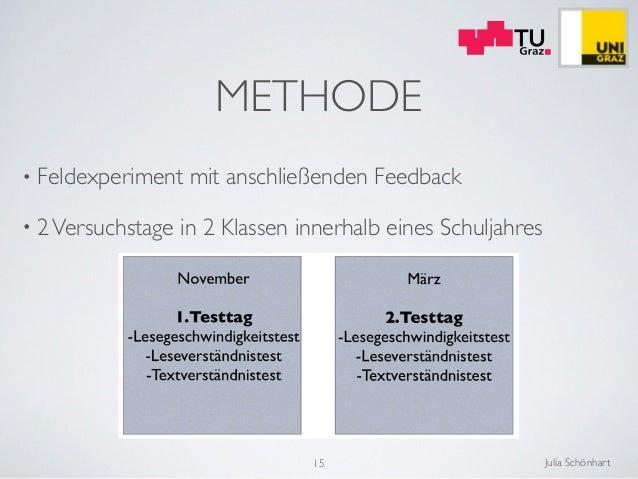 Julia Schönhart METHODE • Feldexperiment mit anschließenden Feedback  • 2Versuchstage in 2 Klassen innerhalb eines Schulj...