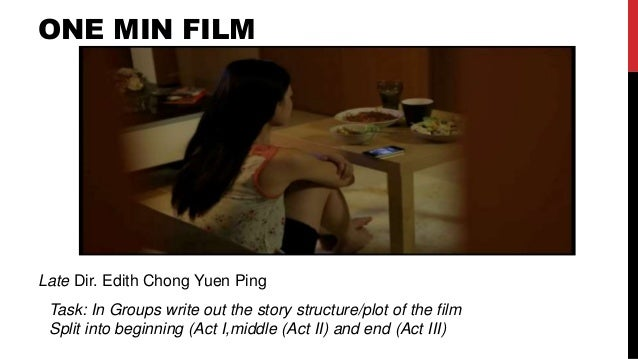 ONE MIN FILM Late Dir. Edith Chong Yuen Ping Task: In Groups write out the story structure/plot of the film Split into beg...