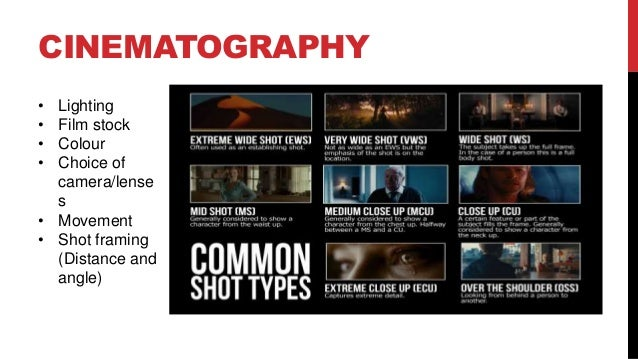 CINEMATOGRAPHY • Lighting • Film stock • Colour • Choice of camera/lense s • Movement • Shot framing (Distance and angle)