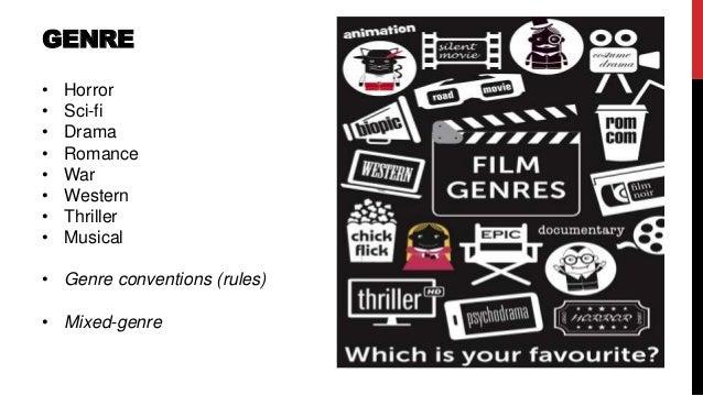 GENRE • Horror • Sci-fi • Drama • Romance • War • Western • Thriller • Musical • Genre conventions (rules) • Mixed-genre