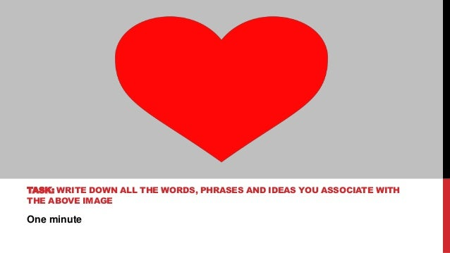 One minute TASK: WRITE DOWN ALL THE WORDS, PHRASES AND IDEAS YOU ASSOCIATE WITH THE ABOVE IMAGE