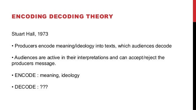 ENCODING DECODING THEORY Stuart Hall, 1973 • Producers encode meaning/ideology into texts, which audiences decode • Audien...