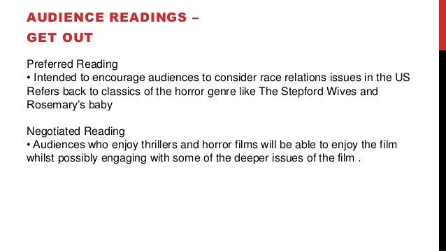 AUDIENCE READINGS – GET OUT Preferred Reading • Intended to encourage audiences to consider race relations issues in the U...