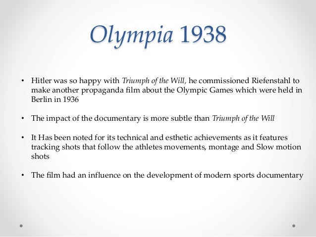 Olympia 1938 • Hitler was so happy with Triumph of the Will, he commissioned Riefenstahl to make another propaganda film a...