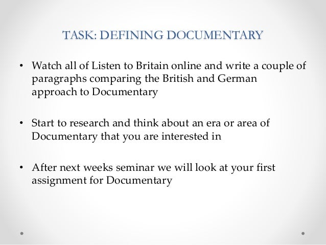 Documentary Week 2