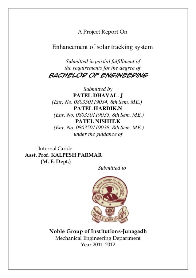 A Project Report On         Enhancement of solar tracking system           Submitted in partial fulfillment of          th...