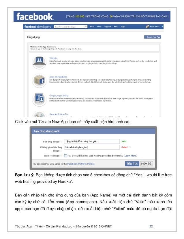 Tác giả: Adam Thiên – Cố vấn RichdadLoc – Bản quyền © 2013 ONNET 23 chưa đúng hoặc trùng tên với apps khác, bạn phải sửa l...