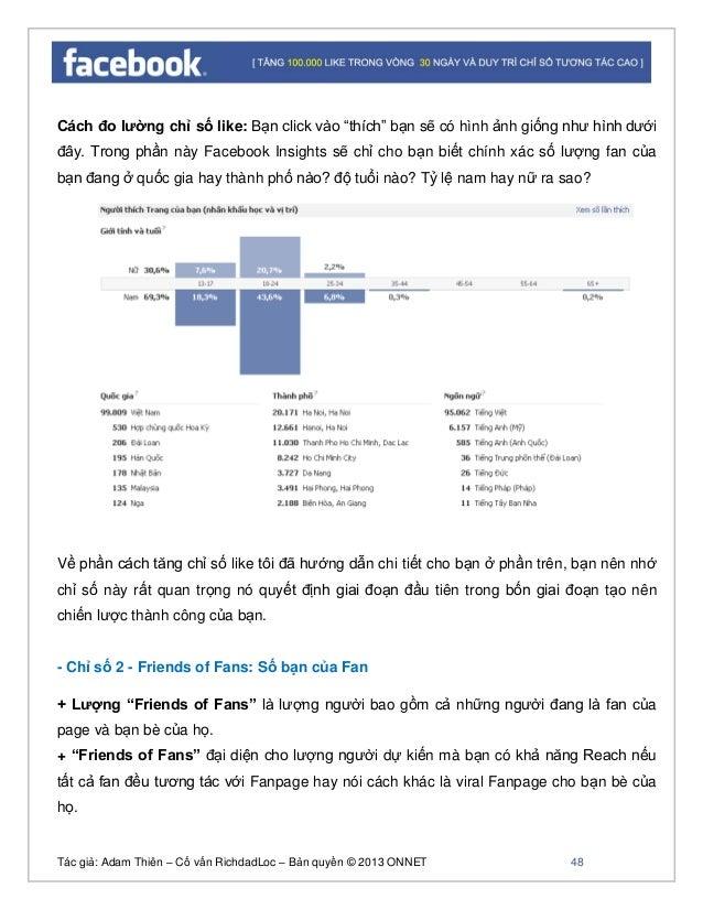 """Tác giả: Adam Thiên – Cố vấn RichdadLoc – Bản quyền © 2013 ONNET 49 Cách đo lường chỉ số """"Friends of Fans"""" Bạn vào faceboo..."""
