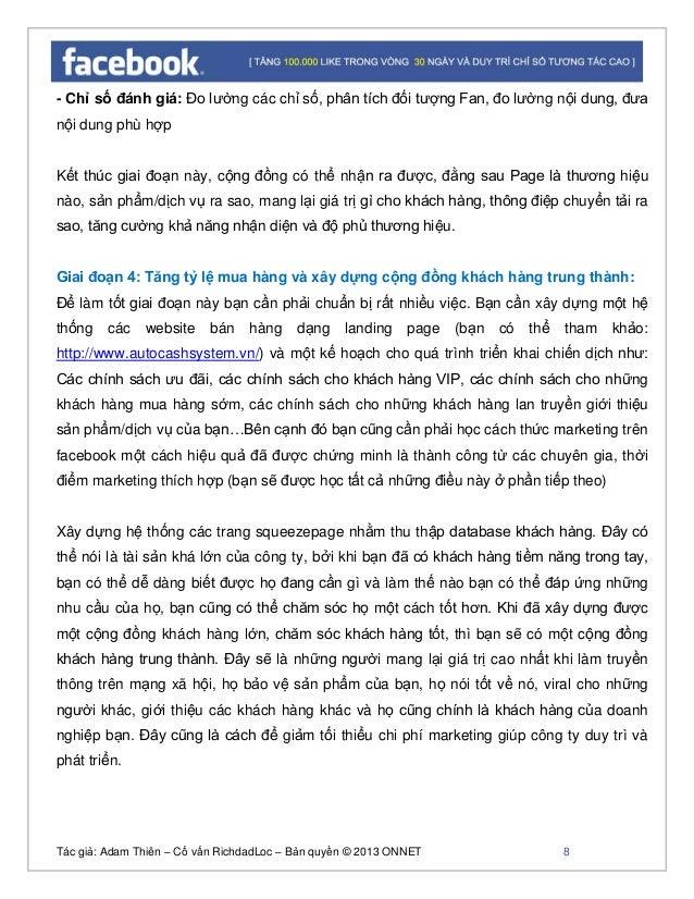 Tác giả: Adam Thiên – Cố vấn RichdadLoc – Bản quyền © 2013 ONNET 9 Chỉ số đo lường trong giai đoạn này chính là số lượng d...