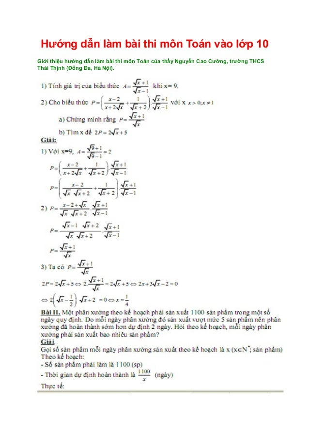 Hướng dẫn làm bài thi môn Toán vào lớp 10 Giới thiệu hướng dẫn làm bài thi môn Toán của thầy Nguyễn Cao Cường, trường THCS...