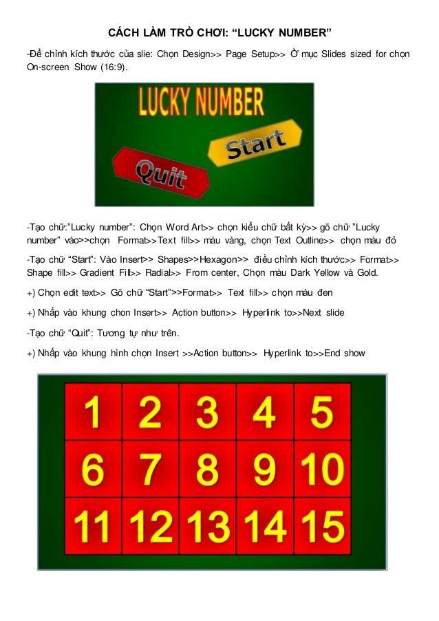 Hướng dẫn làm trò chơi lucky number
