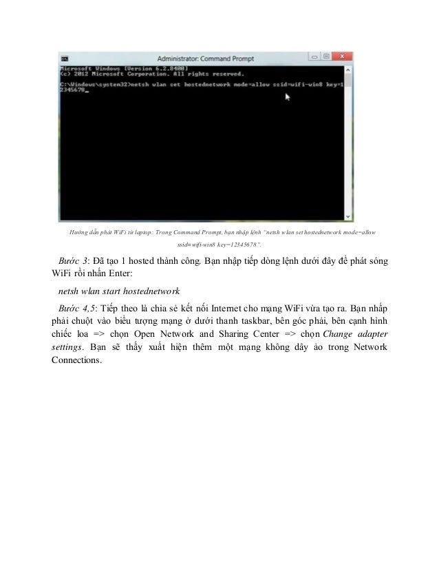 Hướng dẫn phát wi fi từ laptop tu dong