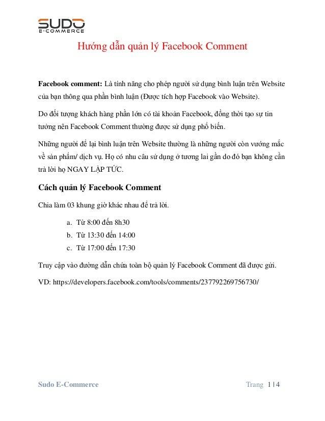 Sudo E-Commerce Trang 1   4 Hướng dẫn quản lý Facebook Comment Facebook comment: Là tính năng cho phép người sử dụng bình ...