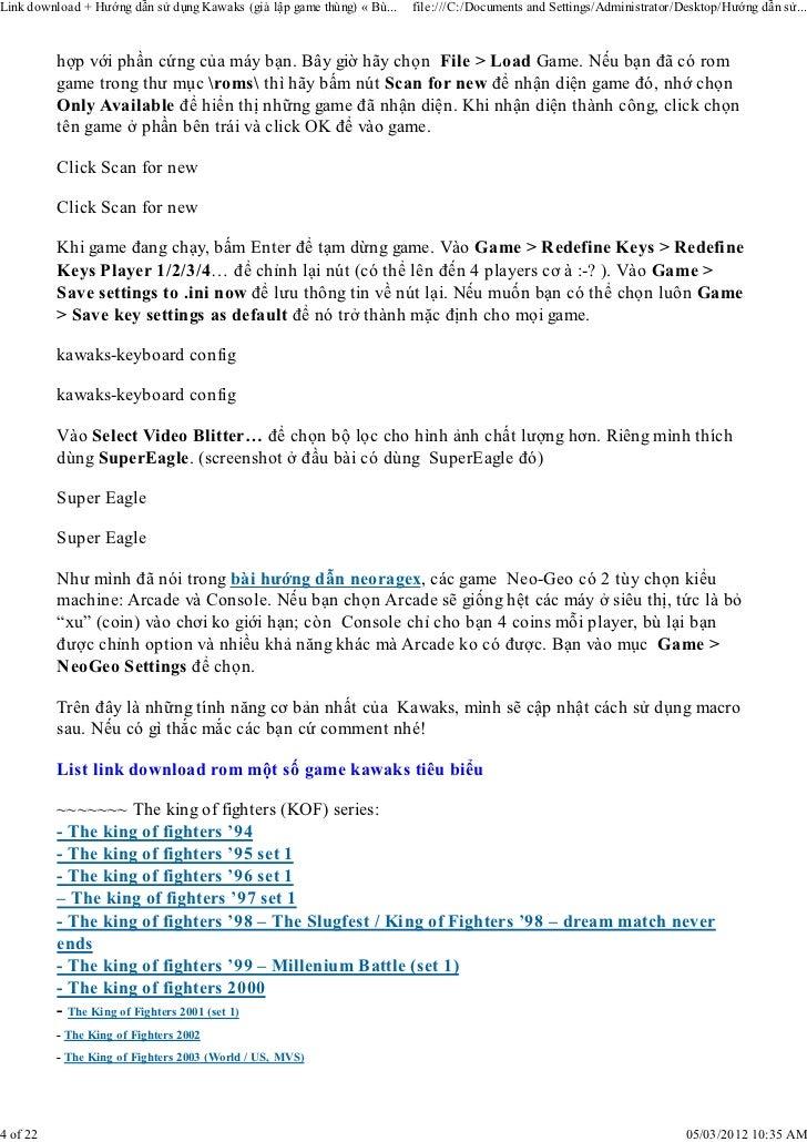 Hướng dẫn sử dụng kawaks (giả lập game thùng) « bùi thành nhân a k a