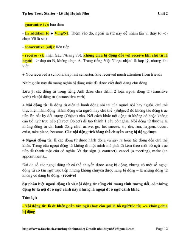 Tự học Toeic Starter - Lê Thị Huỳnh Như Unit 2 https://www.facebook.com/huynhnhutoeic; Gmail: nhu.huynh54@gmail.com Page 1...