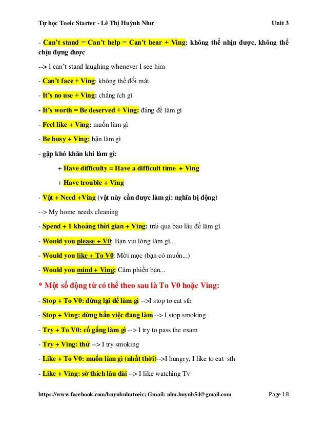 Tự học Toeic Starter - Lê Thị Huỳnh Như Unit 3 https://www.facebook.com/huynhnhutoeic; Gmail: nhu.huynh54@gmail.com Page 1...